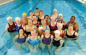 Active older adults water aerobics