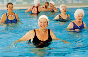 Active older adults water aerobics