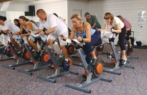 Group fitness cycling class